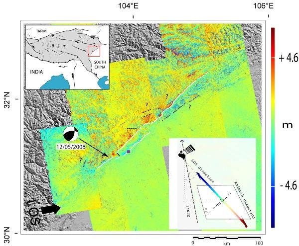 Déplacements de la surface du sol liés au séisme du 12 mai 2008 dans la région des Longmen Shan, vus par corrélation d'image satellitaire radar