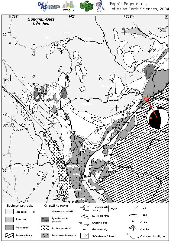 Schéma structural de la bordure Tibet-Sichuan