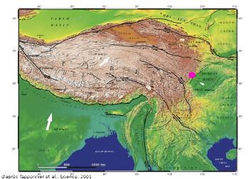 Carte des failles actives du Tibet