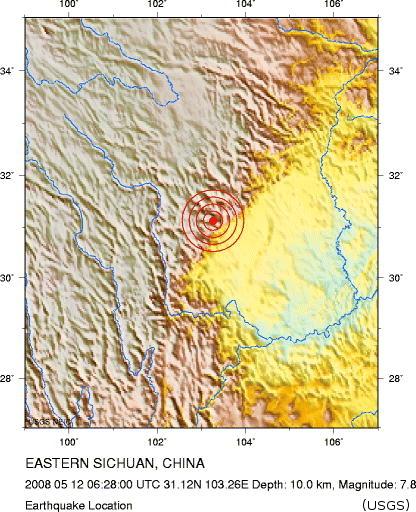Localisation du séisme du Sichuan (Chine), 12 mai 2008
