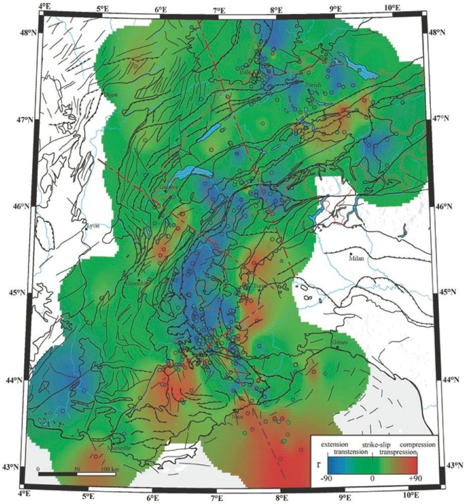 Carte interpolée du champ des déformations sismiques dans les Alpes, obtenue à partir des mécanismes focaux