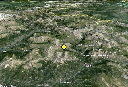 Localisation géographique du séisme de l'Ubaye du 7 avril 2014