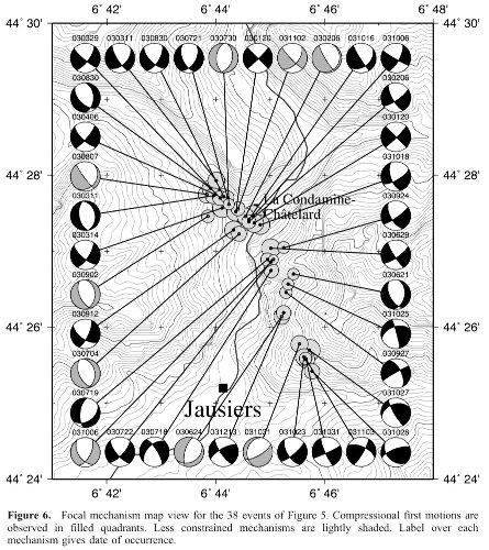 Mécanismes au foyer des séismes de l'essaim de 2003-2004
