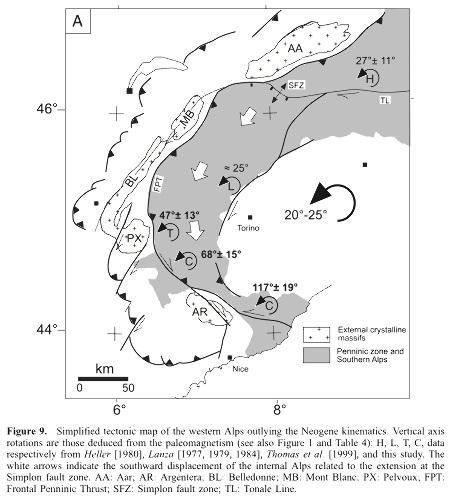 Carte tectonique simplifiée, et cinématique post-Oligocène des Alpes Occidentales
