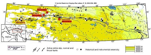 Localisations préliminaires (étoiles rouges) du séisme du 14 Novembre 2001