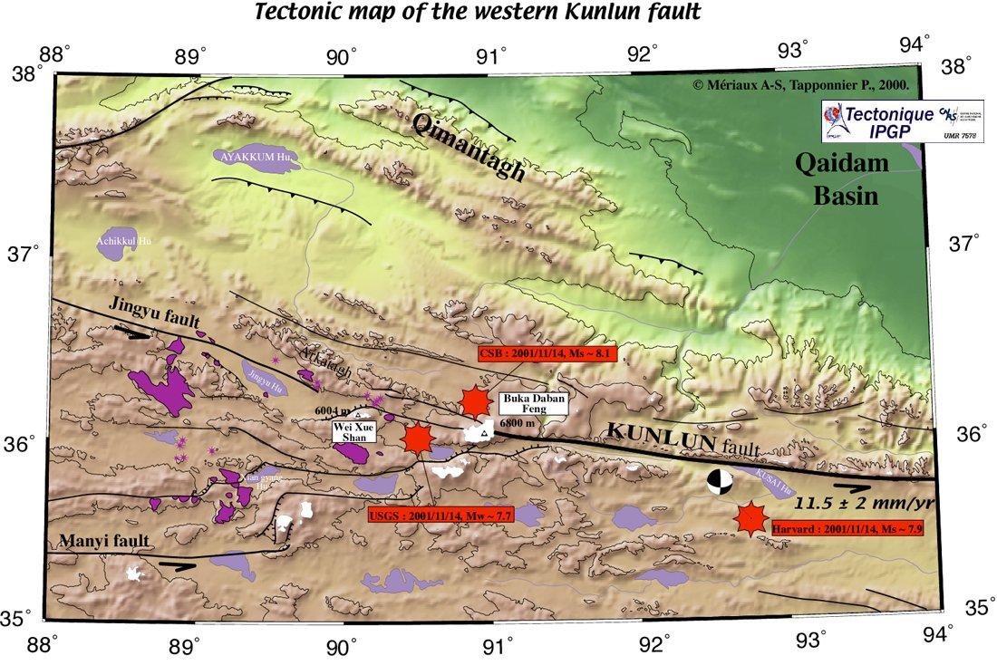 Les failles actives et volcans récents dans la région du décrochement sénestre du Kunlun (Mériaux et al., 2000)