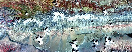 Image ASTER de la faille de Kunlun, montrant la partie de la faille à l'est de l'épicentre