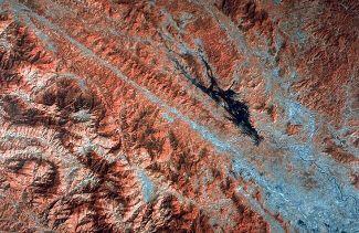 Image Landsat de la zone de faille de la Rivière Rouge au Vietnam