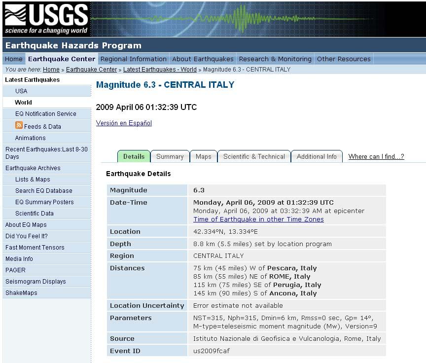 Présentation générale du séisme de L'Aquila du 6 avril 2009 sur le site de l'USGS