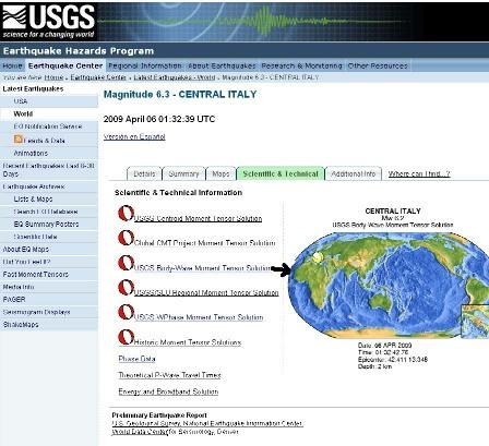 Mécanisme au foyer du séisme de L'Aquila du 6 avril 2009 sur le site de l'USGS