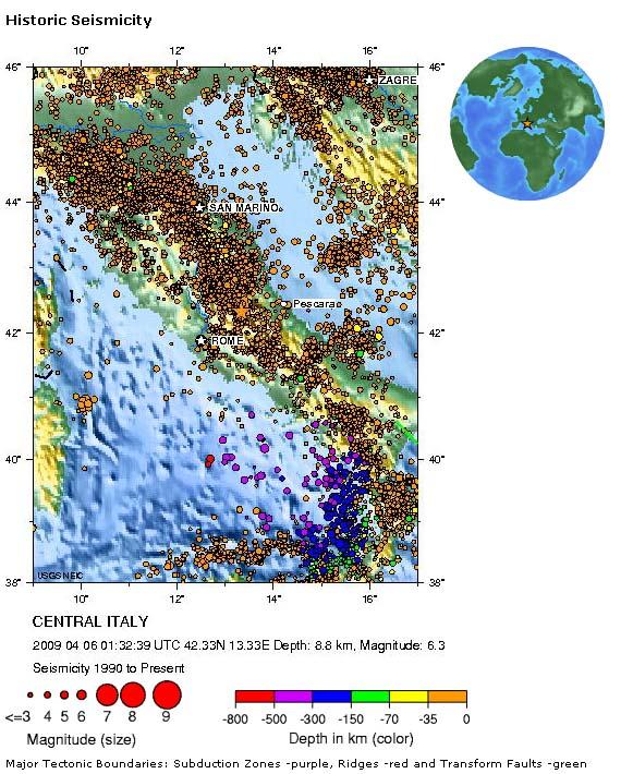 Carte de la séismicité historique en Italie, sur le site de l'USGS