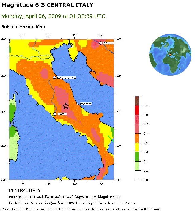 Carte des aléas sismiques en Italie, sur le site de l'USGS