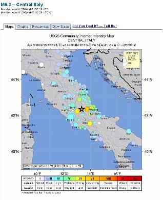 Carte du ressenti de la population, séisme du 6 avril 2009, L'Aquila (Italie)