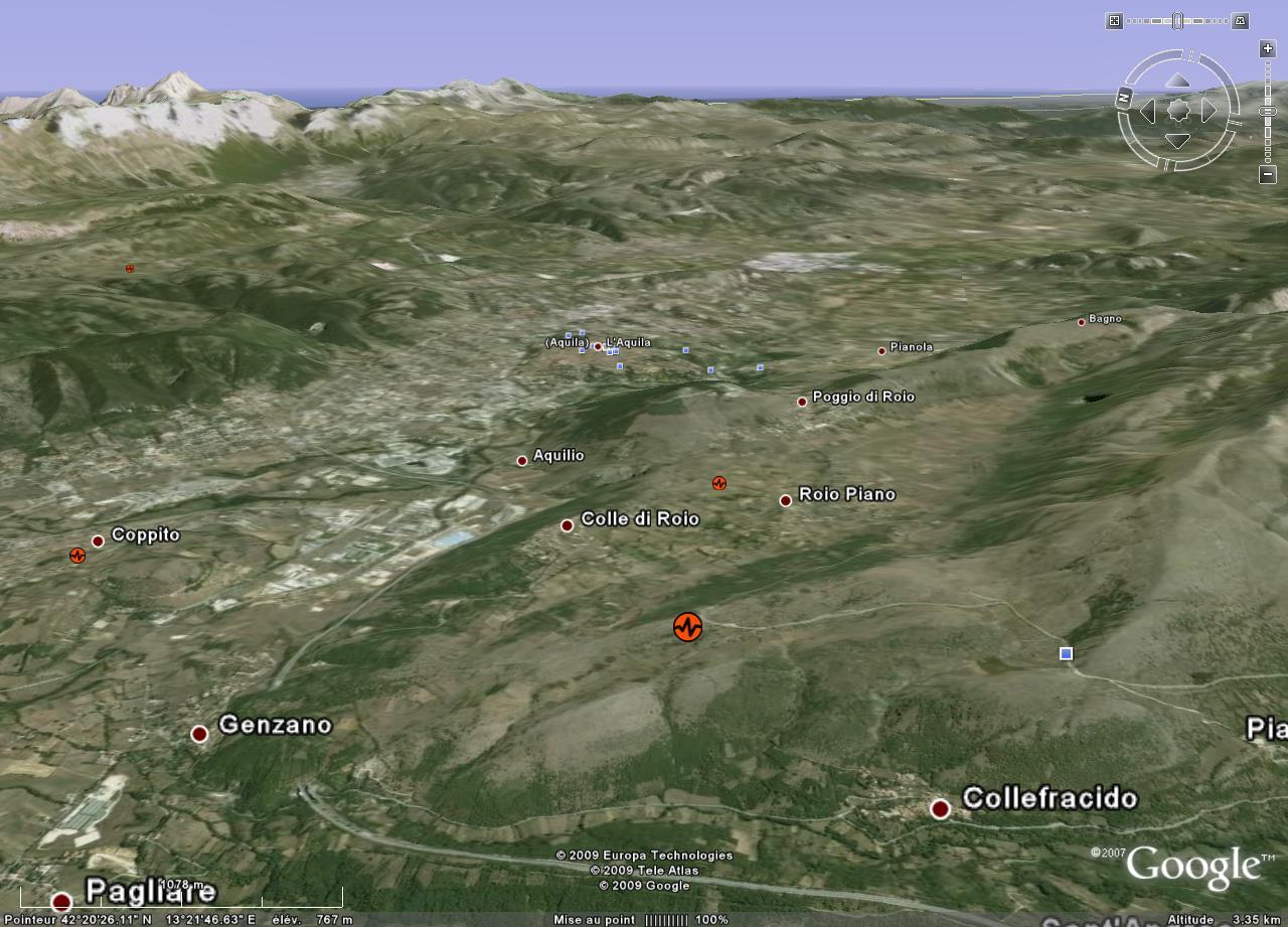Localisation via Google earth de l'épicentre (au centre de l'image) du séisme du 6 avril 2009, L'Aquila (Italie)