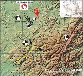 Carte de la sismicité régionale et localisation de la crise sismique de Rambervillers