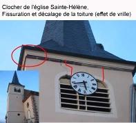 Clocher de l'église Sainte-Hélène, fissuration et décalage de la toiture (effet de vrille)