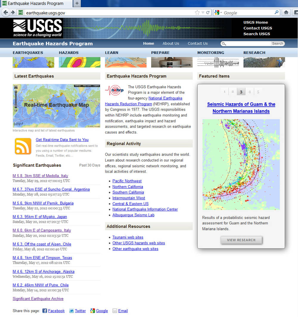 Page de garde de l'USGS / Earthquake Hazards Program