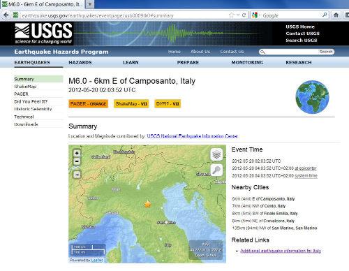 Généralités concernant le séisme du 20 mai 2012, près de Camposanto (Italie)