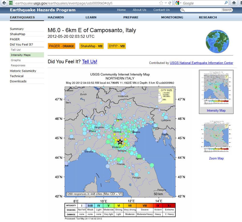 Carte des intensités du séisme du 20 mai 2012, près de Camposanto (Italie)
