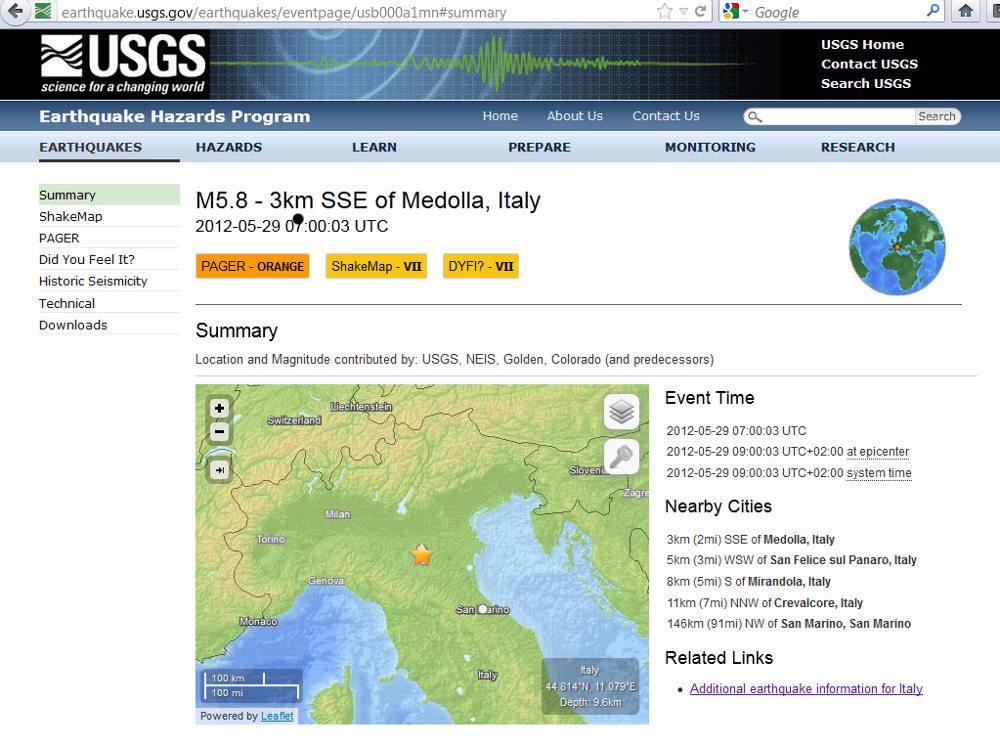 Généralités concernant le séisme du 29 mai 2012, près de Medolla (Italie)