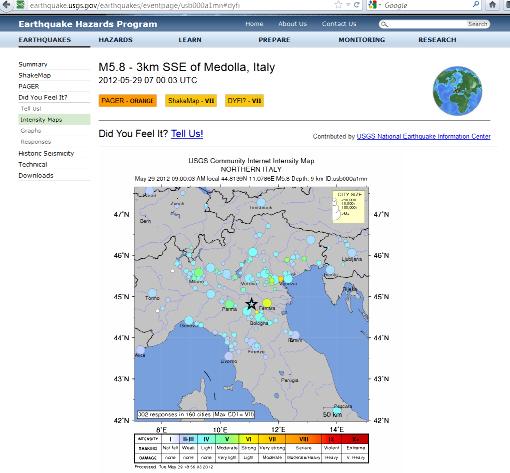 Carte des intensités du séisme du 29 mai 2012, près de Medolla (Italie)