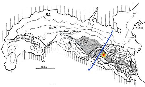 Carte de la profondeur de la base du Pliocène dans la plaine du Po