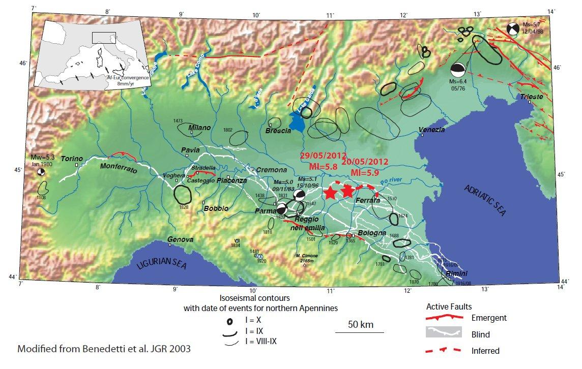Carte sismo-tectonique Apennins - plaine du Po