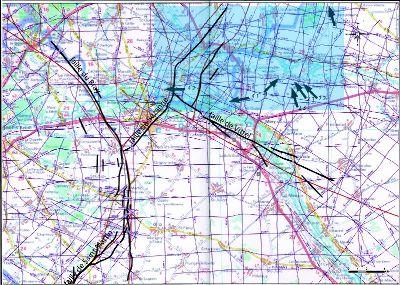 Cartographie de profils sismiques pétroliers ayant permis l'étude des déformations au toit du Dogger