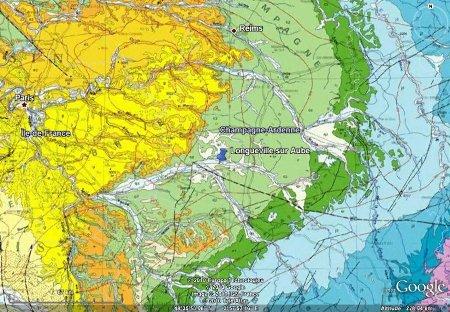 Localisation de la zone d'étude sur fond de carte géologique