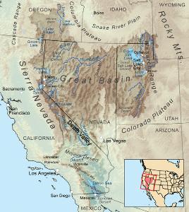 Position de la Vallée de la Mort au sein du Grand Bassin, États-Unis d'Amérique