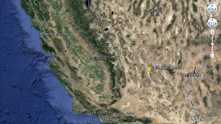 Position de la Vallée de la Mort, Californie