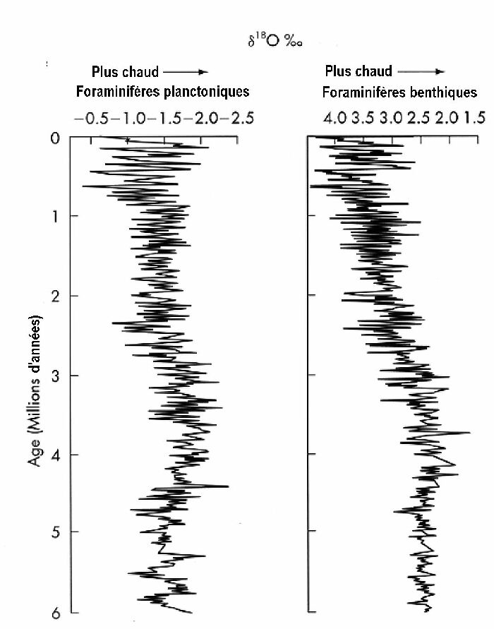 Variations du δ18O des foraminifères benthiques et planctoniques, courbes obtenues à partir de plusieurs carottes du Pacifique équatorial