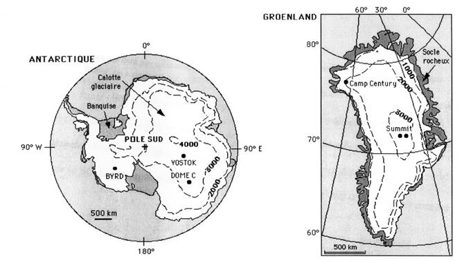 Les calottes glaciaires polaires, sites de forage