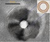 Micrographie MET haute résolution de chrysotyie, serpentine organisée en feuillets eux-mêmes enroulés en nanotubes