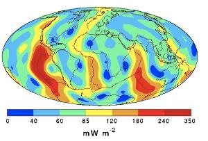 Carte des flux de chaleur à la surface du globe