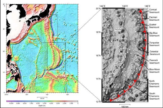 Localisation des mud-volcanoes de l'arc des Mariannes