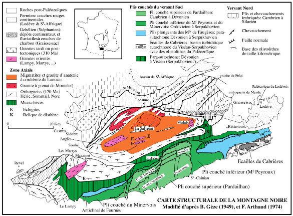 Carte tectonique de la Montagne Noire