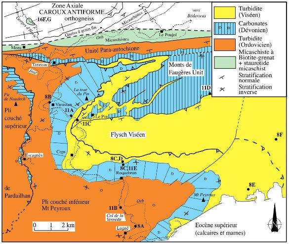 Carte géologique simplifiée de la vallée de l'Orb (versant Sud) et du Sud du Caroux