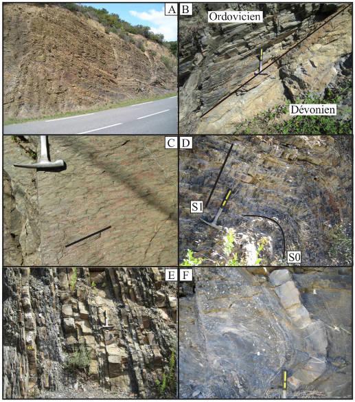 Photographies des principaux faciès de la Montagne Noire discutés dans le texte