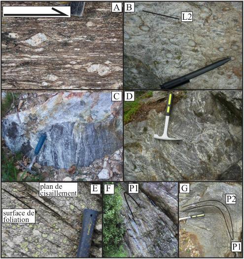 Photographies des lithologies et structures de la zone axiale de la Montagne Noire