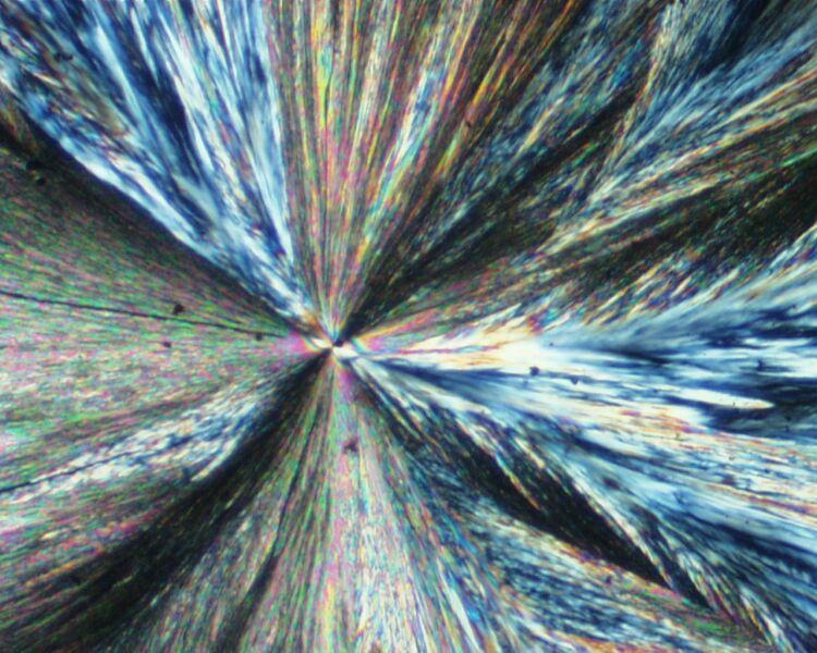 Cristaux de soufre β en aiguille au microscope, lumière polarisée analysée