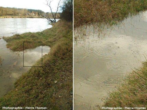 Émanation de CO2 dans la rivière Allier en période de hautes eaux, Les Martres de Veyre (63)
