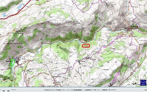 Localisation précise du secteur des sources de Saurier (en vert) et de la Tête de Lion (en rouge)