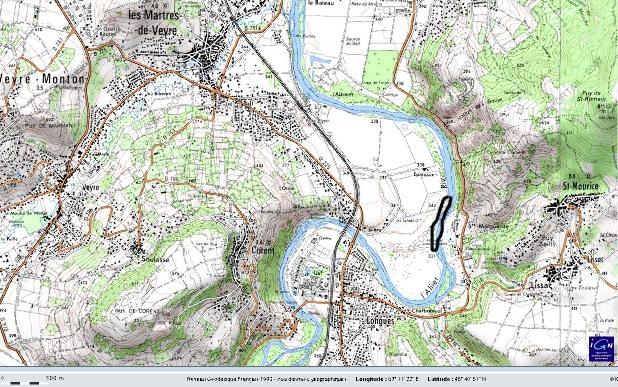 Localisation précise du secteur des sources du bord de l'Allier aux Martres de Veyre