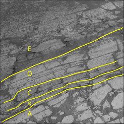 Différentes zones sur une surface dallée du sol martien, secteur de Karatepe
