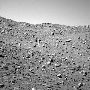 Sol martien recouvert d'éboulis