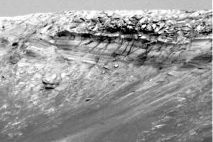 Détail d'un flanc interne du cratère Endurance