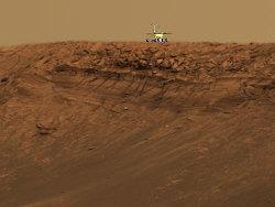 """Photo-montage: Opportunity """"à l'échelle"""" au bord de la falaise d'Endurance"""