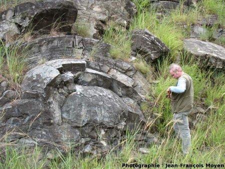Stromatolithes en grands dômes, milieu subtidal profond, Sudwala Pass (R539), Mpumalanga, Afrique du Sud, un dôme