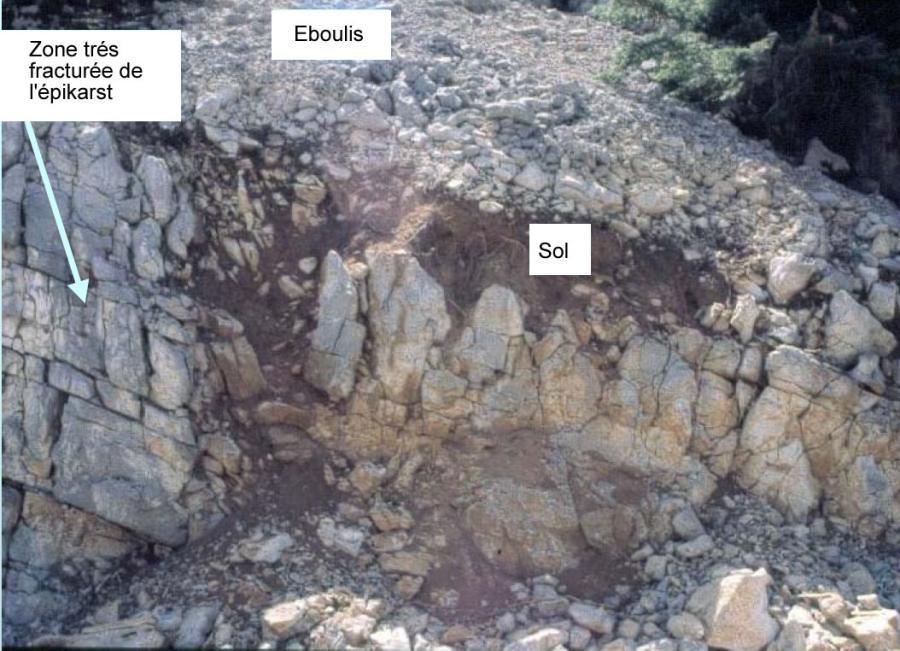 Coupe dans l'épikarst (après élargissement des fissures par infiltration de l'eau de pluie)